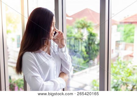 Attractive Beautiful Woman Is Calling