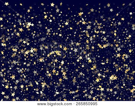 poster of Gold Falling Star Sparkle Elements Of Glitter Gradient Vector Background. Flying Confetti Gold Stars