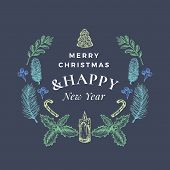 Merry Christmas And Happy New Year Abstract Greeting Card Or Banner With Christmas Wreath And Retro  poster