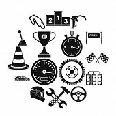 Racing Speed Icons Set. Simple Illustration Of 16 Racing Speed Icons For Web poster