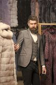 Fashion And Beauty, Winter, Fur. Fashion, Business And Shopping, Man Among Fur Coat poster