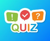 Quiz Logo With Speech Bubble Symbols, Concept Of Questionnaire Show Sing, Quiz Button, Question Comp poster