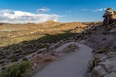 Switchback Trail In Arches National Park, Along The Delicate Arch Trail In Early Morning Sunshine poster