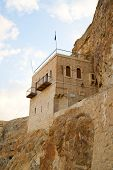 stock photo of jericho  - Temptation Monastery Quruntal near Jericho - JPG