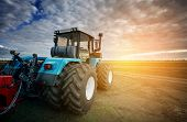 Tractor Working On The Farm, A Modern Agricultural Transport, A Farmer Working In The Field, Tractor poster