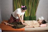 Thai Masseuse Doing Massage For Lifestyle Woman In Spa Salon. Asian Beautiful Woman Getting Thai Her poster
