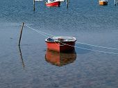 Traditional Classic Small Fishing Boats Anchored In A Small Bay Denmark poster
