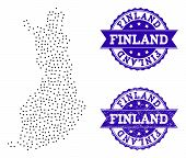 Dotted Black Map Of Finland And Blue Rubber Seal Stamp. Vector Map Of Finland Designed With Irregula poster