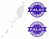 Dotted Black Map Of Palau Islands And Blue Scratched Seal. Vector Map Of Palau Islands Designed With poster