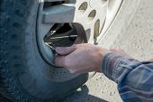 Man Hands Insert The House Of The Car Pump To Pump Air Into The Wheel Of The Car poster