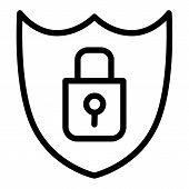 Shield Security Line Icon. Lock And Shield Vector Illustration Isolated On White. Security Outline S poster