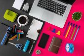 Office Supply Items, Laptop And Coffee On Black And Pink Background. Colorful And Vibrant Office Tab poster