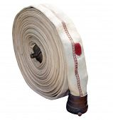 foto of firehose  - Antique Cotton Firehose isolated with clipping path - JPG