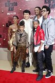 LOS ANGELES - JUNE 7: Jada Pinkett Smith, Jackie Chan, Will Smith, Trey Smith, Willow Smith and Jade