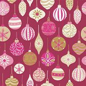 Christmas Vintage Ornaments Pink, Gold, Beige Seamless Vector Pattern Background. Repeated Retro Chr poster