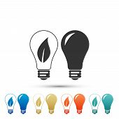 Classic Lamp And Light Bulb With Leaf Inside Icon Isolated On White Background. Lighting Electric La poster