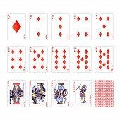 Full Set Of Diamonds Suit Playing Cards With Joker Isolated On White poster