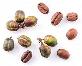 Green coffee beans and roasted coffee beans on white background. Macro. poster