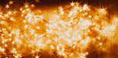 Beautiful Garland With Little Lights. Orange Toning. Christmas Coming Concept. poster