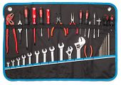 Toolbelt with set of tools - screwdrivers nippers wrenches spanners pliers allen keys isolated on wh poster
