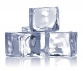 stock photo of ice-cubes  - ice cubes isolated on white - JPG