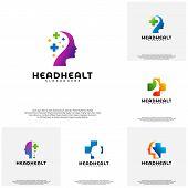 Collection Head Health Logo Template Vector, Head Intelligence Logo Designs Concept Vector poster