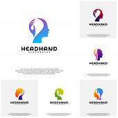 Collection Head Care Logo Vector, Head Intelligence Logo Designs Concept Vector poster