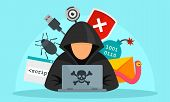 Hacker Activity Concept Background. Flat Illustration Of Hacker Activity Vector Concept Background F poster