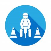 Repairer Icon With Long Shadow. Elements Of Constraction Icon With Long Shadow. Signs And Symbols Co poster