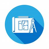 Building Plan Icon With Long Shadow. Elements Of Constraction Icon With Long Shadow. Signs And Symbo poster