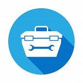 Toolbox Icon With Long Shadow. Elements Of Constraction Icon With Long Shadow. Signs And Symbols Col poster
