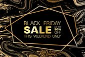 Black Friday Sale Up To 50 Percent Off Banner. Gold Marble Texture And Geometric Frame On Black Back poster