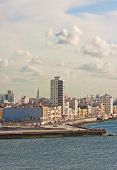 stock photo of malecon  - Vertical view of the skyline of Havana with El Malecon - JPG