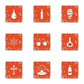 Doping Icons Set. Grunge Set Of 9 Doping Vector Icons For Web Isolated On White Background poster