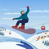 Snowboarding In Mountains. Snowboarder Slope On Snowy Hill. Colorful Extreme Sport Cartoon. Winter O poster