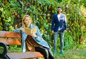 Park Best Place For Romantic Date. Couple In Love Romantic Date Nature Park Background. Girl Sit Ben poster