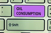 Conceptual Hand Writing Showing Oil Consumption. Business Photo Showcasing This Entry Is The Total O poster