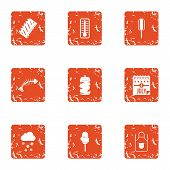 Holiday Freedom Icons Set. Grunge Set Of 9 Holiday Freedom Vector Icons For Web Isolated On White Ba poster