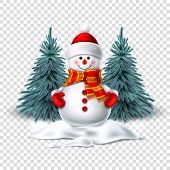 Vector Cute Realistic Snowman In Mittens Scarf Hat poster
