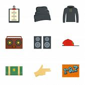 Rap Icon Set. Flat Set Of 9 Rap Icons For Web Design poster