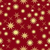 Seamless Dark Red Background With Gold Stars, Christmas Background Wallpaper, Elegant Xmas Wrap Pape poster