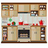 Interior Kitchen Set. Vector Illustration Of The Interior And Kitchen Decor. poster