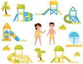 Flat Vector Set Of Different Children S Water Slides. Aqua Park Equipment. Kids In Swimming Suits poster