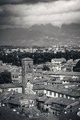 Lucca rooftop view with red roofs and bell tower of historic buildings and mountain range in Italy. poster