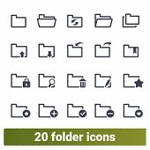 Folder Vector Icons Collection. Various States Of Documents, Files And Folders. Office Symbols Set.  poster