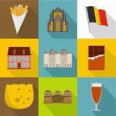 European Food Icons Set. Flat Set Of 9 European Food Icons For Web Isolated On White Background poster