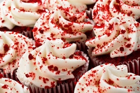 picture of red velvet cake  - Multiple Red Velvet Cupcakes Close Together with Sprinkles - JPG