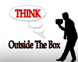 stock photo of thinking outside box  - 3D illustration for business logo or slogan Think outside the box - JPG