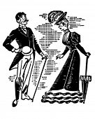 Victorian Couple Courting - Retro Clipart Illustration