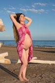 Beautiful Pregnant Woman With Long Hair In Bikini Relaxing At Beach